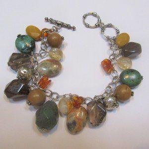 Silpada toggle bracelet B1648 multistone amber 925